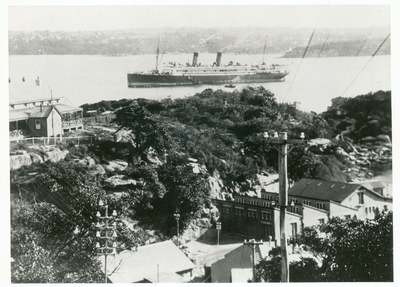 The view from Q Station and ships going through the North Heads in Sydney.